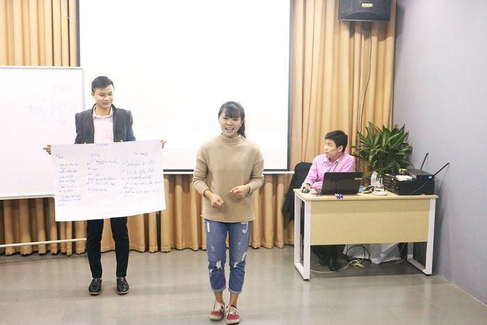 Nhóm 1 tự tin trình bày bài thuyết trình của mình trước cả lớp.