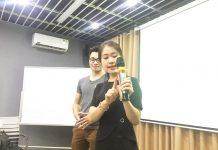 Giảng viên Nguyễn Thị Thanh Hằng đang hướng dẫn chi tiết phong thái cần có khi thuyết trình