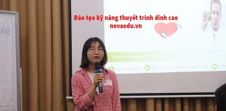 Học viên thực hành kỹ năng thuyết trình tại Novaedu