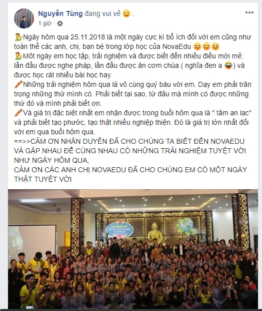 """Bạn Nguyễn Văn Tùng - Học viên lớp """"Kỹ năng toàn diện"""" Spro.107"""