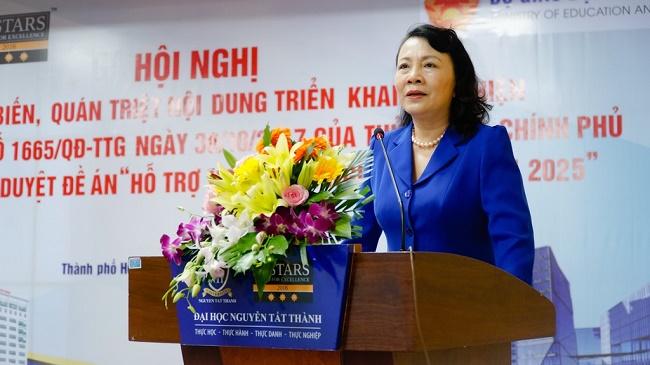 Thứ trường Bộ GD&ĐT Nguyễn Thị Nghĩa tại Hội nghị triển khai dự án khởi nghiệp