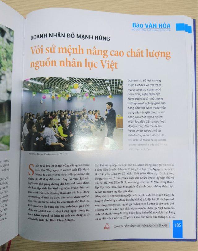 """Doanh nhân Đỗ Mạnh Hùng trên án phẩm """"Doanh nghiệp doanh nhân văn hóa - Hội nhập và phát triển"""" của Báo Văn hóa."""